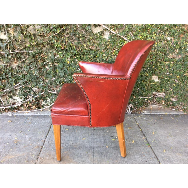 Vintage Red Leather Side Chair For Sale - Image 4 of 9
