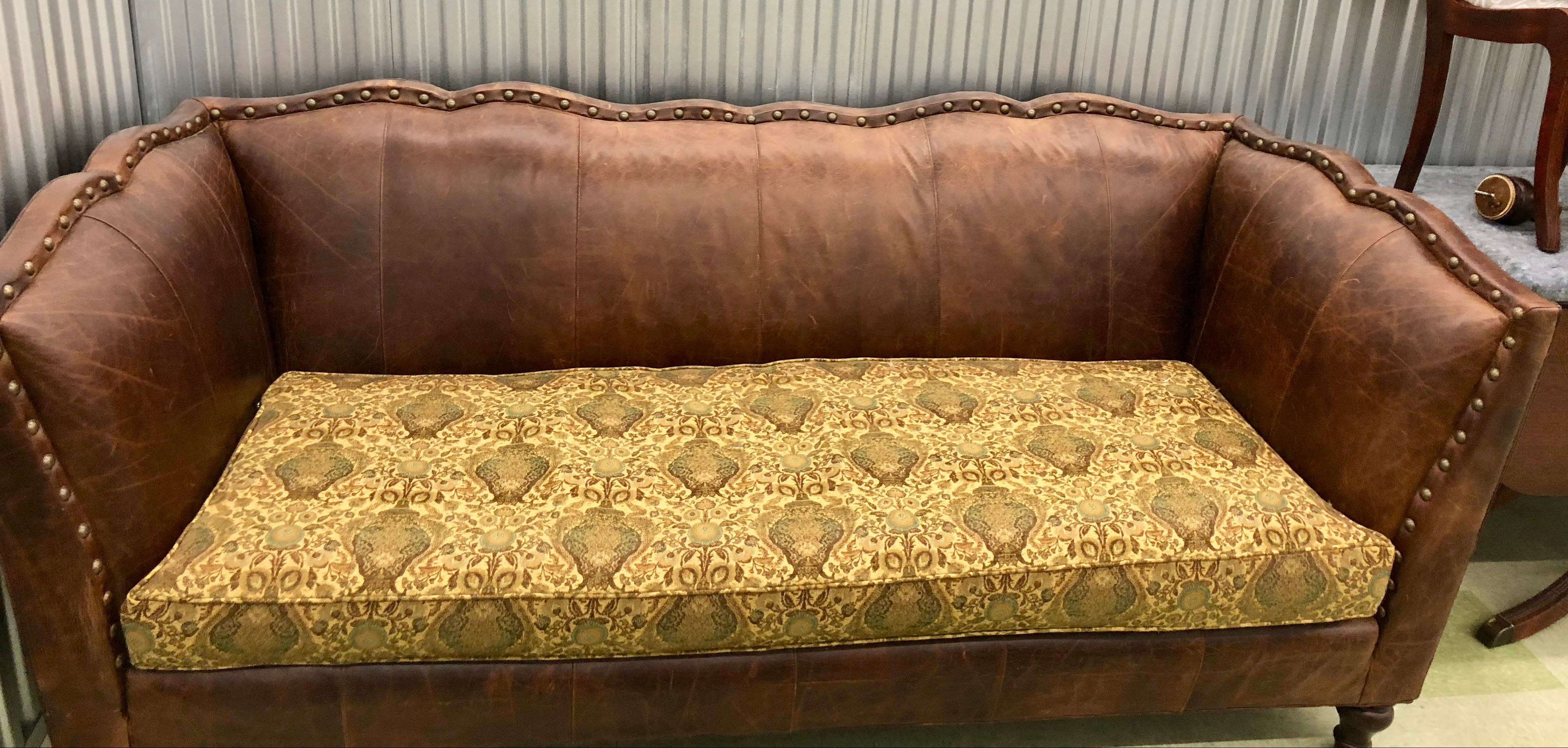 Very Classic Americana Sofa By Vanguard In Rich Leather And Tapestry  Upholstery Fabric On The Single