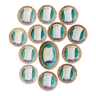 French Majolica Asparagus Orchies Platter and Plates - Set of 13 For Sale