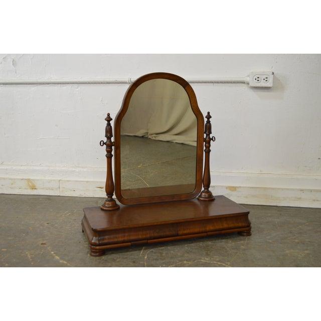 Antique Victorian Walnut 2 Drawer Shaving Mirror - Image 2 of 11