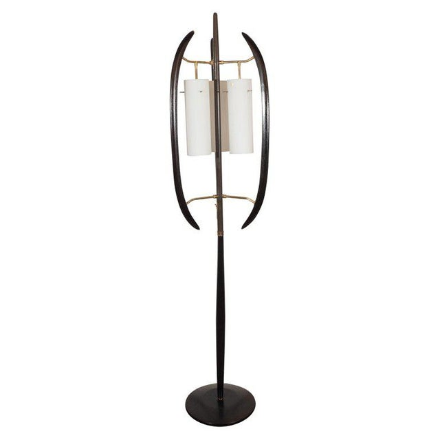 Italian Midcentury Sculptural Ebonized Walnut, Brass & Frosted Glass Floor Lamp For Sale - Image 10 of 10