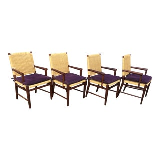 1980s Vintage Donghia Merbau Wicker Chairs by John Hutton- Set of 4 For Sale