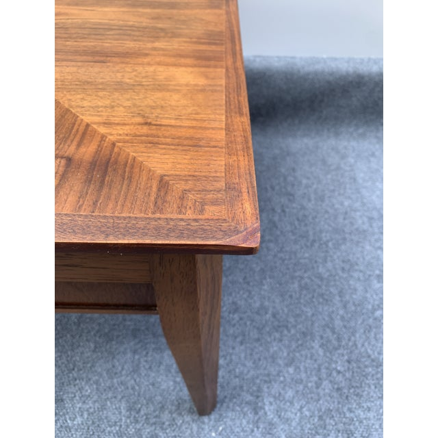 Mid 20th Century Mid-Century Modern Drexel Square Walnut Table For Sale In Charlotte - Image 6 of 9