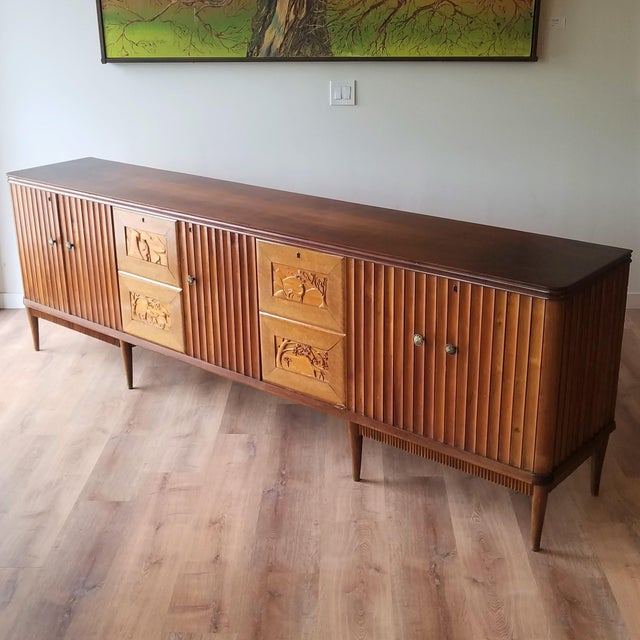 9' Custom Made Italian Credenza With Hand Carved Reliefs For Sale - Image 13 of 13