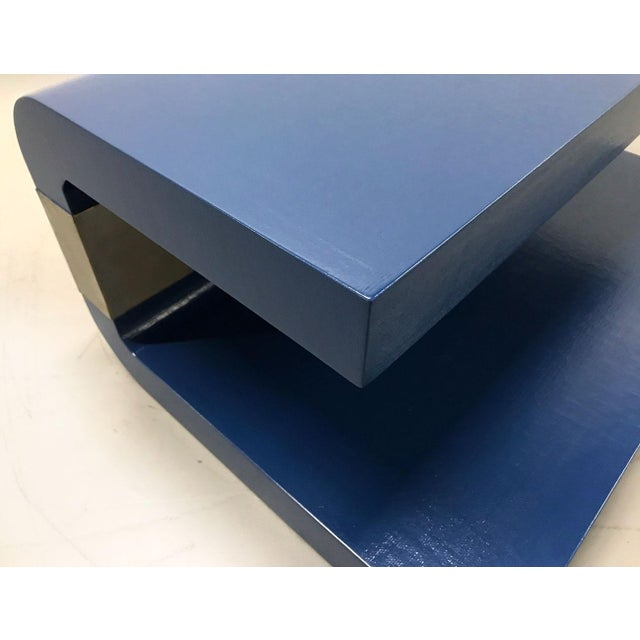 1970s Cobalt Blue Grasscloth Covered C-Shaped Table For Sale - Image 9 of 12