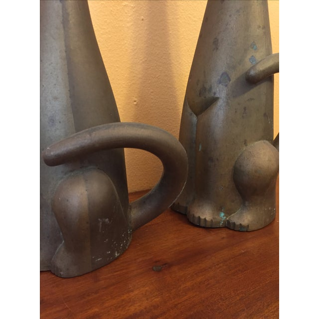 Mid Century Modern Brass Cats - A Pair - Image 7 of 10