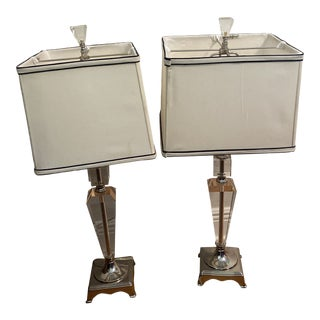 Vintage Late 20th Century Lucite Table Lamps - a Pair For Sale