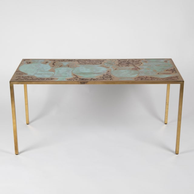 This stunning and seldom-seen Harvey Probber (American, 1922–2003) sofa or console table features an acid-etched and...