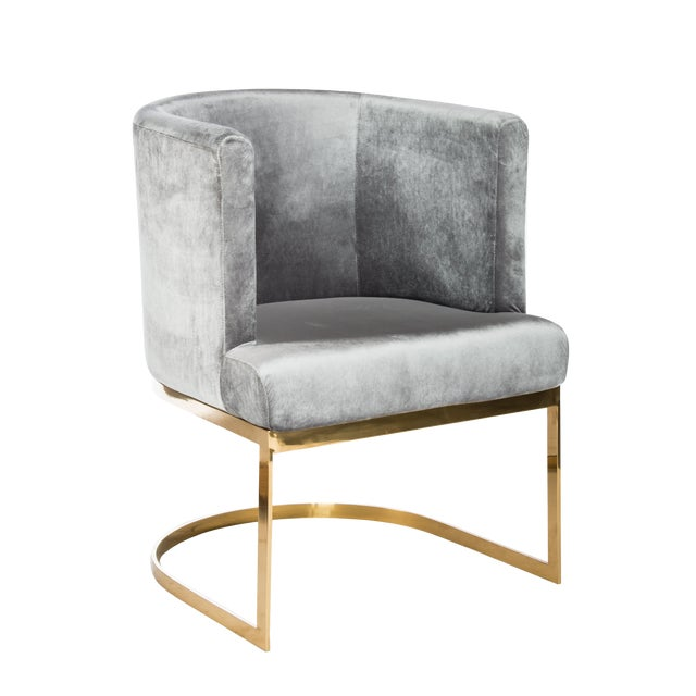 Circular Gray Velvet & Gold Dining Accent Chair For Sale - Image 4 of 4