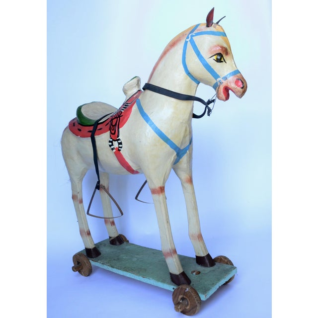 "Mid 20th Century 1950-60s Mexican Folk Art Paper Mache Wood Pull Horse 27""h For Sale - Image 5 of 7"