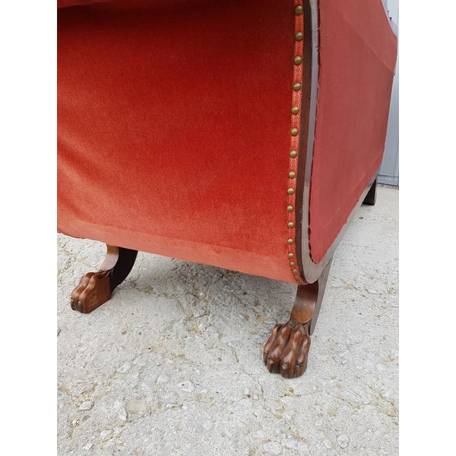 Antique French Cherry Massive Empire Red Velvet Upholstery Sofa Canape For Sale - Image 11 of 12