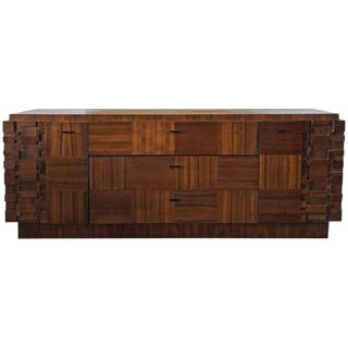 1970s Lane Brutalist Mosaic Walnut Dresser For Sale