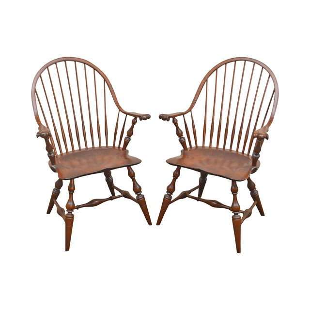 Custom Quality Pair of Solid Cherry Windsor Armchairs For Sale - Image 13 of 13