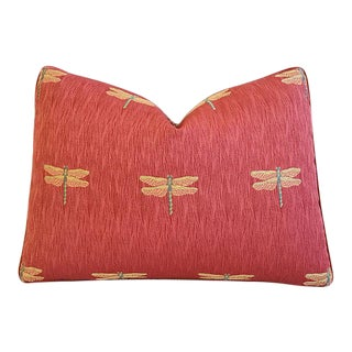 "Designer Rusty-Red Dragonfly in Flight Feather/Down Pillow 22"" X 16"" For Sale"