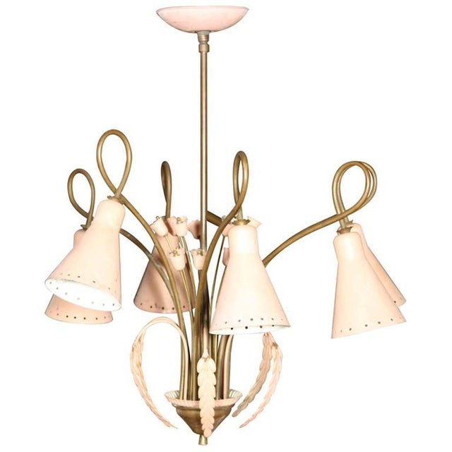 Gold Mid-Century Modern Brass and Pink Painted Metal Chandelier For Sale - Image 8 of 8