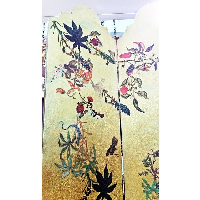 1950s Vintage Birds Foliage Six Pannel Screen For Sale In West Palm - Image 6 of 8