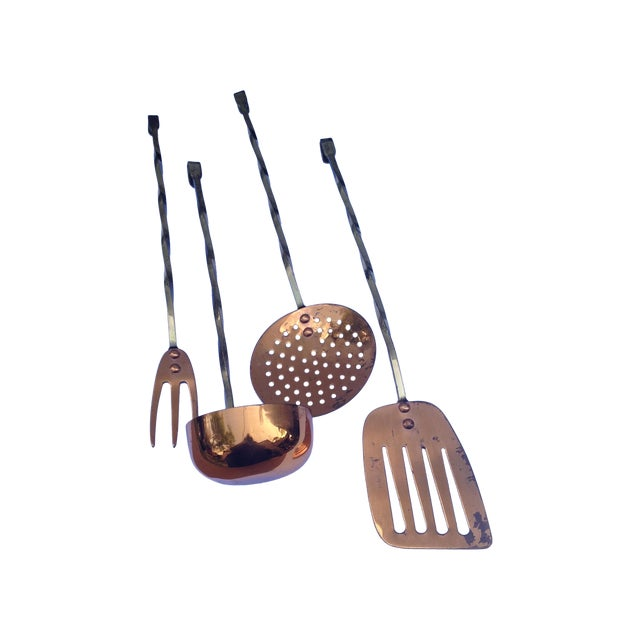 Brass & Copper Kitchen Utility Tools - Set of 4 - Image 1 of 5