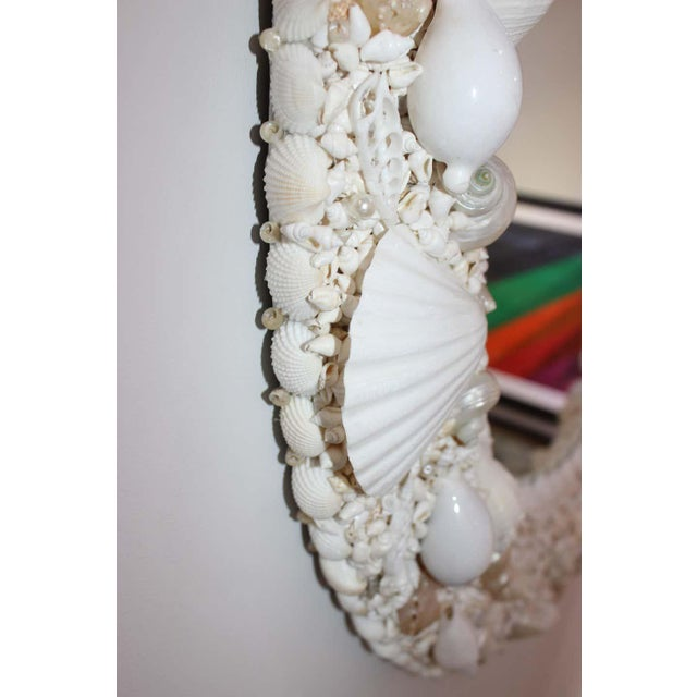 White Seashell Encrusted Mirror bySnob Galeries For Sale In West Palm - Image 6 of 13