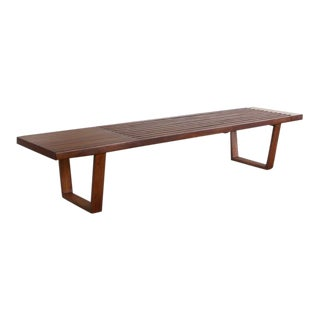 George Nelson Style Walnut Mid Century Modern Slat Bench / Coffee Table For Sale