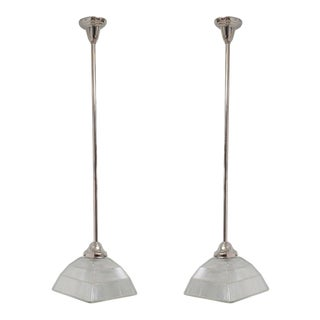 Lead Crystal Holophane Shades on Nickel Stem Pendants - a Pair For Sale