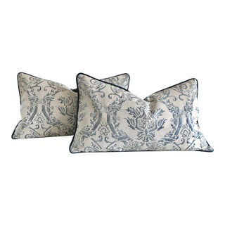 """Traditional Fortuny """"Spagnolo"""" Blue and White Lumbar Pillows - a Pair For Sale"""
