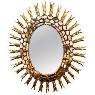 Decorative Hollywood Regency Gilt Leaf Sunburst Console or Wall Mirror For Sale