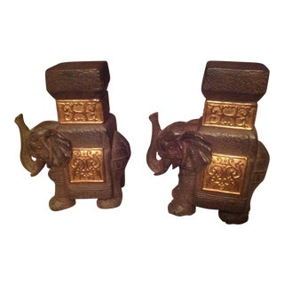 Boho Chic Decorative Elephant Bookends - a Pair For Sale