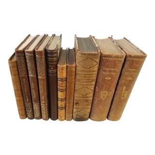 Antique Leather Bound Books - Set of 10