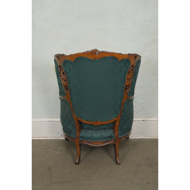 Antique Carved Rococo Style Wing Chair - Image 8 of 10