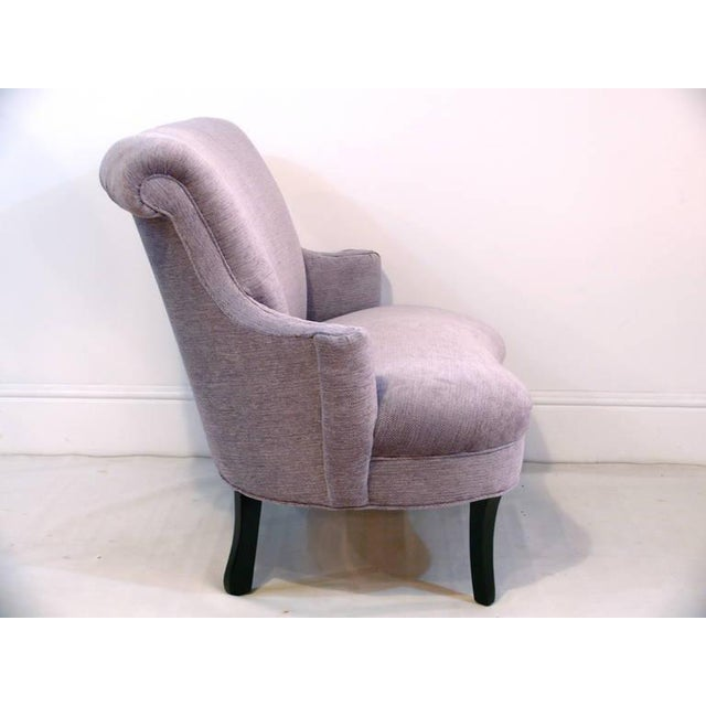 Mid-Century Modern 1940s Vintage Petite Scroll Armed Settee For Sale - Image 3 of 11
