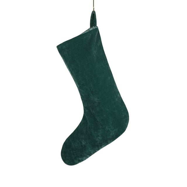 Custom forest green French velvet stocking with green satin lining. This is an heirloom quality stocking made with the...