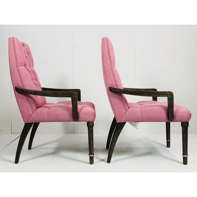 Contemporary Contemporary Drexel Heritage Pink Tufted Dining Chairs - a Pair For Sale - Image 3 of 10