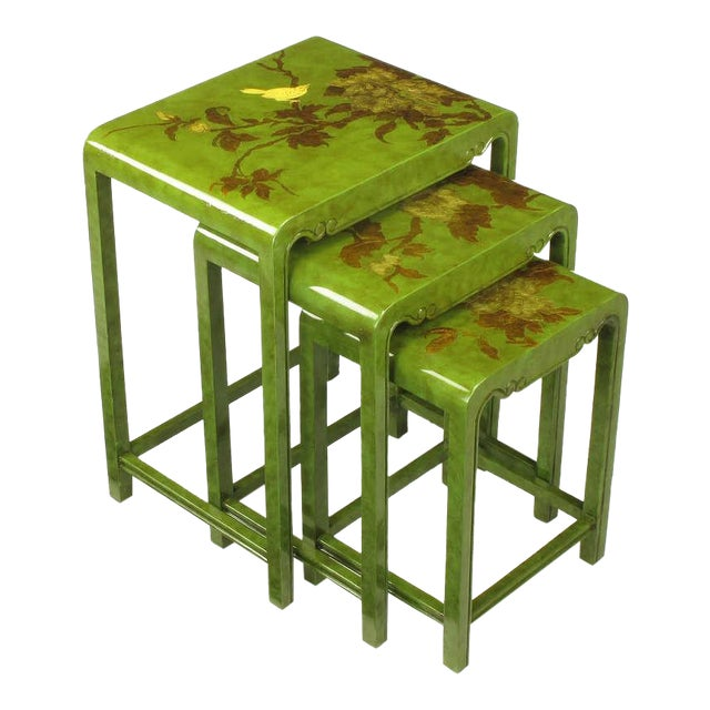 Three Embossed & Parcel Gilt Rich Jade Green Nesting Tables - Image 1 of 10