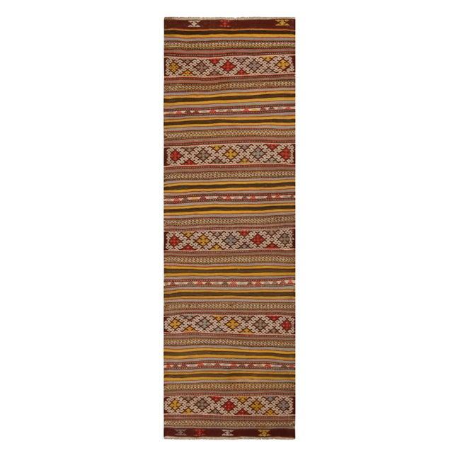 Vintage Helvaci Yellow Multicolor Wool Kilim Rug For Sale In New York - Image 6 of 6