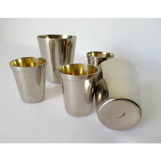 Vintage German Gentleman's Silver Plate & Gold Lined Traveling Cordial Cups - 5 Pieces For Sale - Image 11 of 13