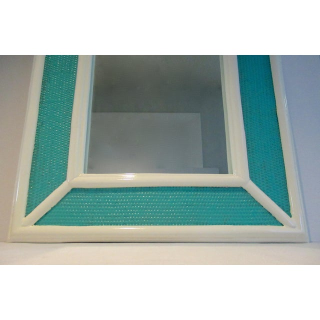 1960s Vintage C.1960's Palm Beach Style Bamboo & Wicker 2-Tone High Gloss Lacquered Mirror For Sale - Image 5 of 12
