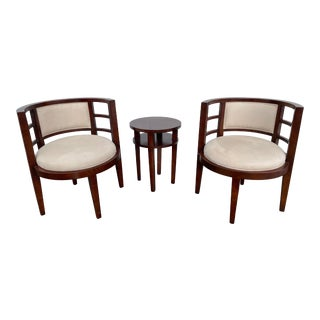 Solid Cherry Wood Accent Chairs & Table - Set of 3 For Sale