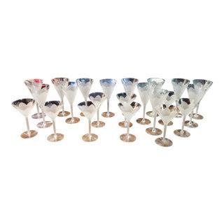 Set of 22 Frosted Flower Petal Stemware Flared Wine Glasses For Sale