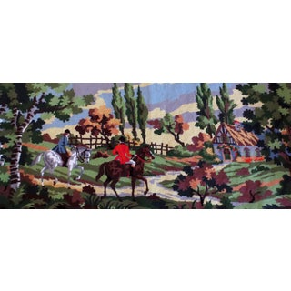 Large English Scene Wool Needlepoint Piece by Margot De Paris Creations For Sale