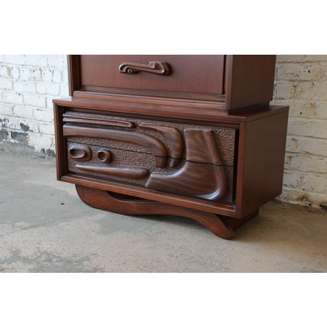 Brown Mid-Century Sculptural Highboy Dresser in the Style of Philip Lloyd Powell For Sale - Image 8 of 11