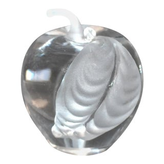 Mireau Art Glass Apple Frosted Leaf Paperweight Signed For Sale