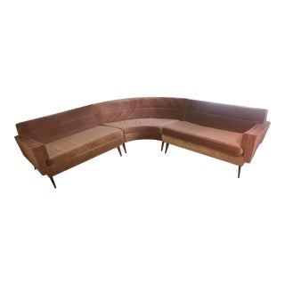 """Mid-Century Modern """"Pink Martini"""" Sectional Couch For Sale"""