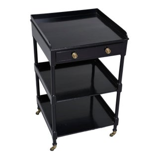 Small English Ebonized Mahogany Etagere on Brass Casters For Sale