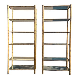 Vintage Faux Bamboo Open Bookcases/Etageres - a Pair For Sale