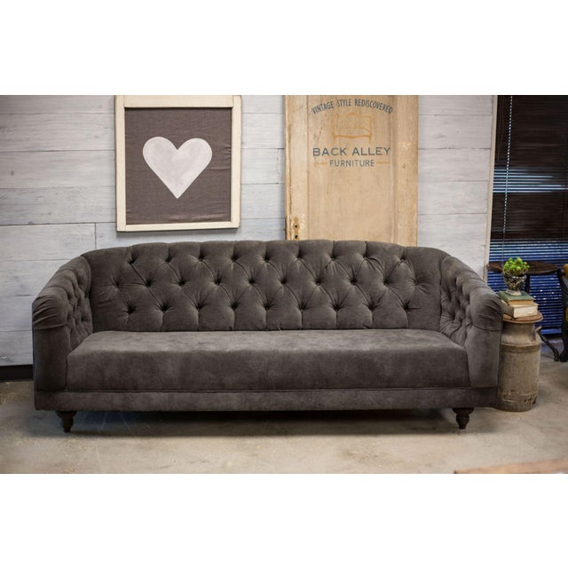 Charcoal Tufted Vintage Sofa - Image 3 of 10
