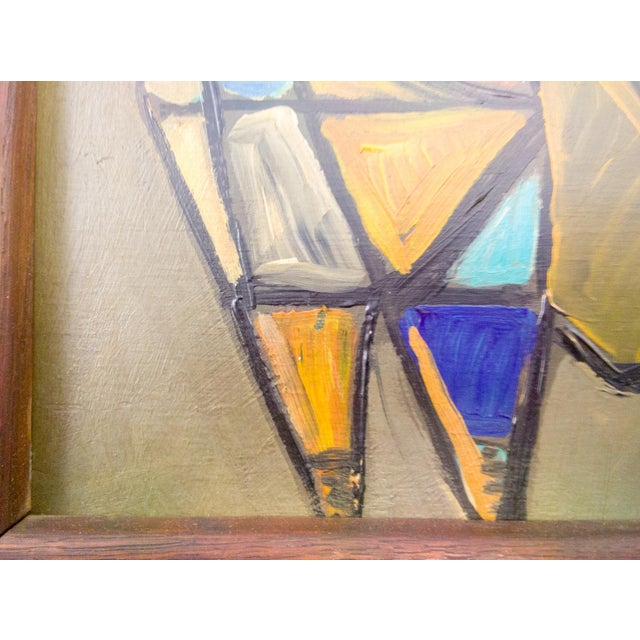 Arts & Crafts Cubist Cat Oil Painting in Frame For Sale - Image 3 of 6