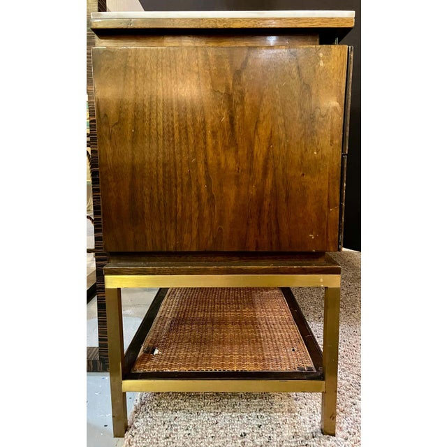 Mid-Century Modern McCobb Cabinet With Glass Top Brass Frame and Caning For Sale - Image 9 of 13