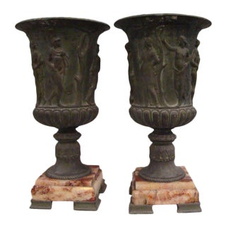 19th Century Neoclassical Spelter Mantel Urns - a Pair