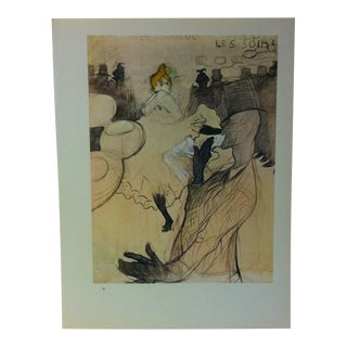 """Circa 1980 """"Study for the Moulin Rouge Poster 1891"""" Color Print of a Toulouse-Lautrec Drawing For Sale"""