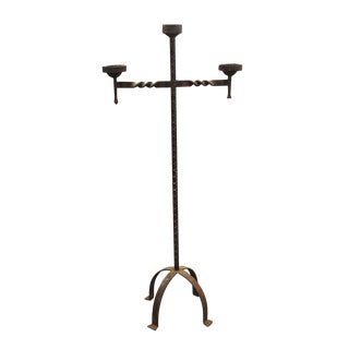 Antique Wrought Iron Floor Candle Stand For Sale